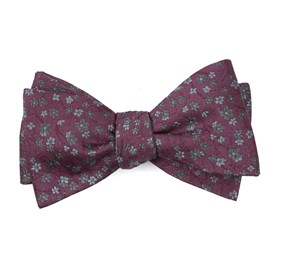 Mauve Free Fall Floral bow ties