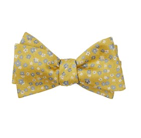 Yellow Gold Free Fall Floral bow ties