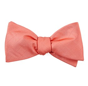 Coral Herringbone Vow bow ties