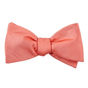 herringbone vow coral bow ties