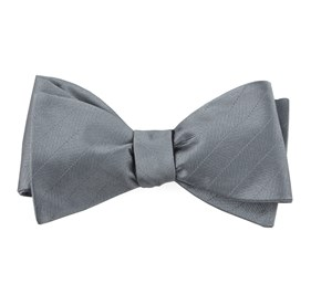 Grey Herringbone Vow bow ties