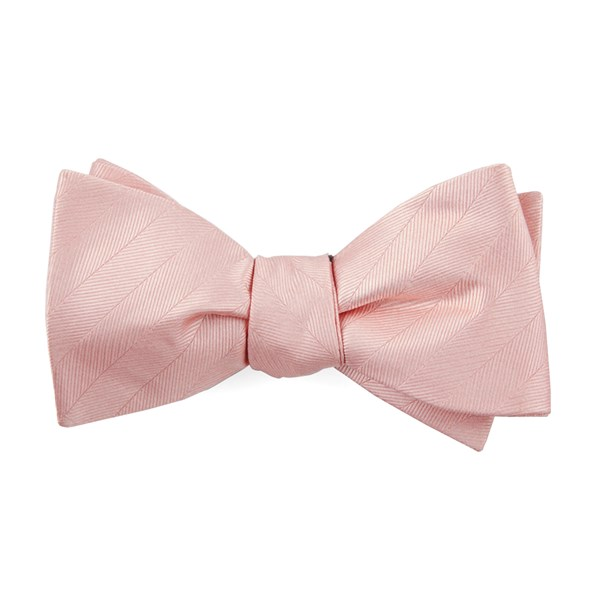 Blush Pink Herringbone Vow Bow Tie