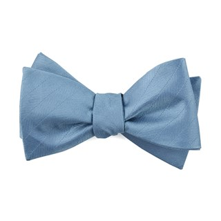 herringbone vow steel blue bow ties