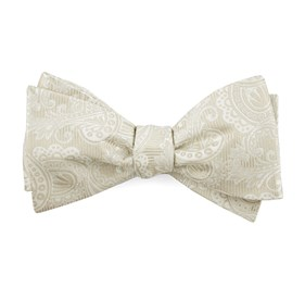 Light Champagne Twill Paisley bow ties