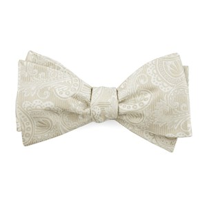 twill paisley light champagne bow ties