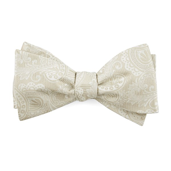Light Champagne Twill Paisley Bow Tie