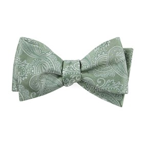Moss Green Twill Paisley bow ties