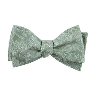 twill paisley moss green bow ties