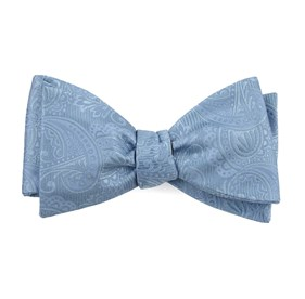 Steel Blue Twill Paisley bow ties