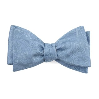 twill paisley steel blue bow ties