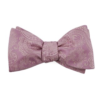 twill paisley dusty rose bow ties