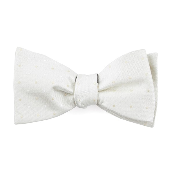 Ivory Suited Polka Dots Bow Tie