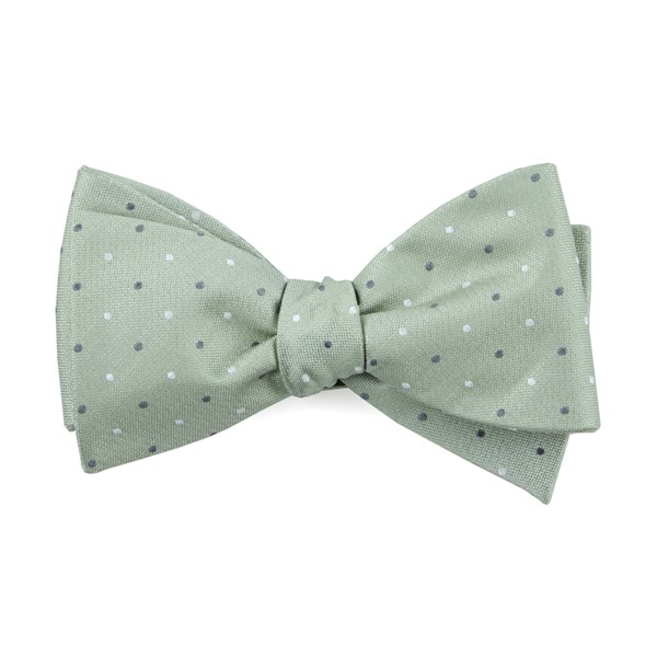 Sage Green Suited Polka Dots Bow Tie