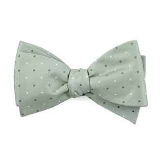 suited polka dots sage green bow ties