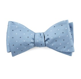 Suited Polka Dots Steel Blue Bow Ties