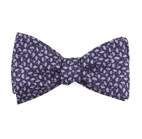 Purple True Floral bow ties