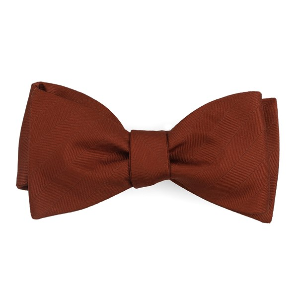 Copper Herringbone Vow Bow Tie
