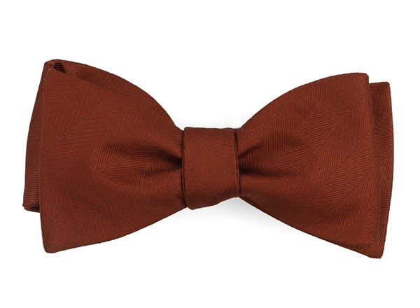 Herringbone Vow Copper Bow Tie