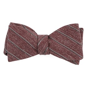 Burgundy Pike Stripe bow ties