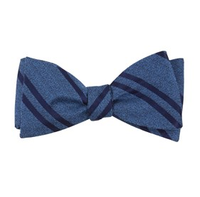 Wool Path Stripe Serene Blue Bow Ties