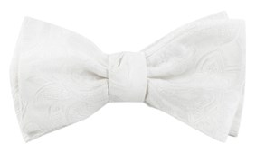 Bow Ties - Organic Paisley - White