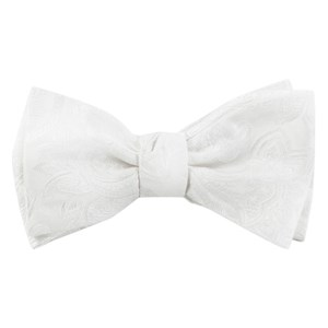 organic paisley white bow ties