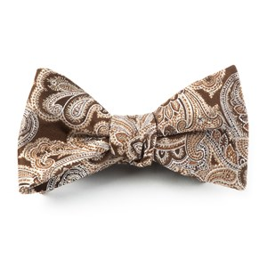 designer paisley chocolate brown bow ties
