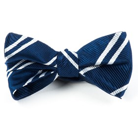 Double Stripe Navy Bow Ties