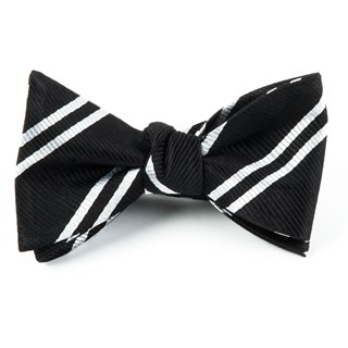double stripe black bow ties