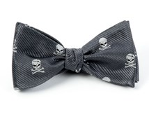 Bow Ties - SKULL AND CROSSBONES - CHARCOAL