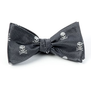 skull and crossbones charcoal bow ties
