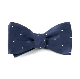 Classic Navy Satin Dot bow ties