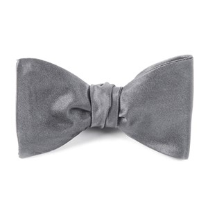 solid satin silver bow ties