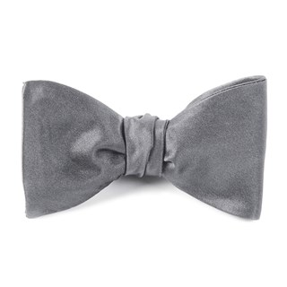 Solid Satin Silver Bow Tie