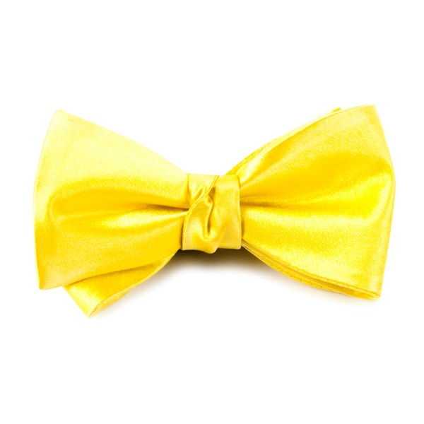 Yellow Solid Satin Bow Tie