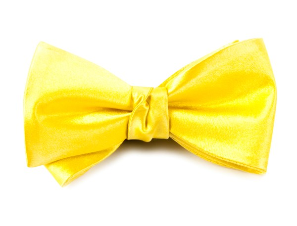 Solid Satin Yellow Bow Tie