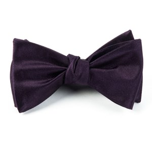 solid satin eggplant bow ties