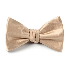 Light Champagne Solid Satin bow ties