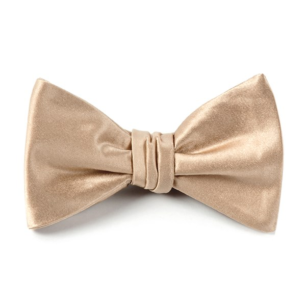 Light Champagne Solid Satin Bow Tie