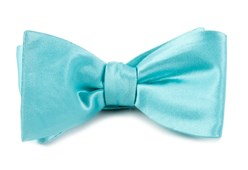 BOW TIES - SOLID SATIN - POOL BLUE
