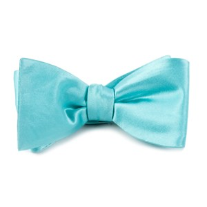 solid satin pool blue bow ties
