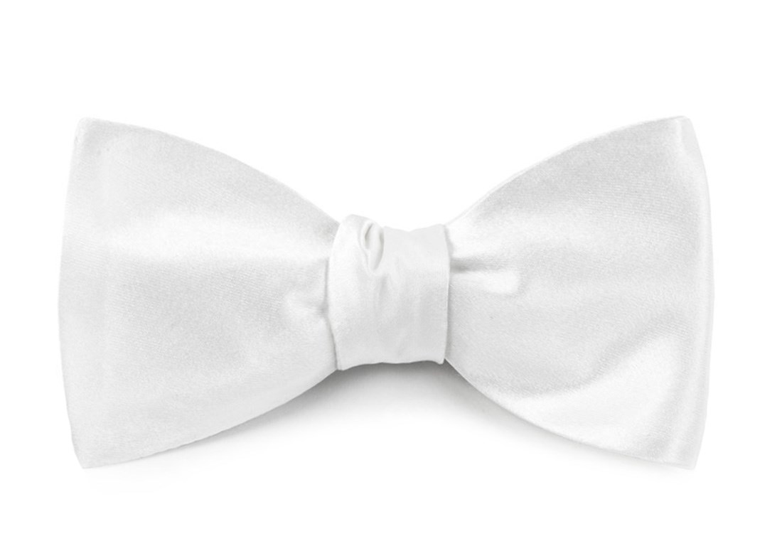 White Solid Satin Bow Tie Ties Bow Ties And Pocket