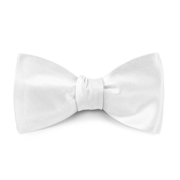 White Solid Satin Bow Tie