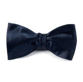 Midnight Navy Solid Satin bow ties