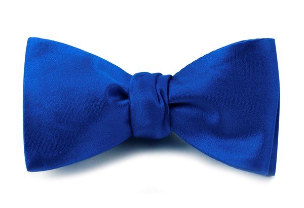 Solid Satin Royal Blue Bow Tie