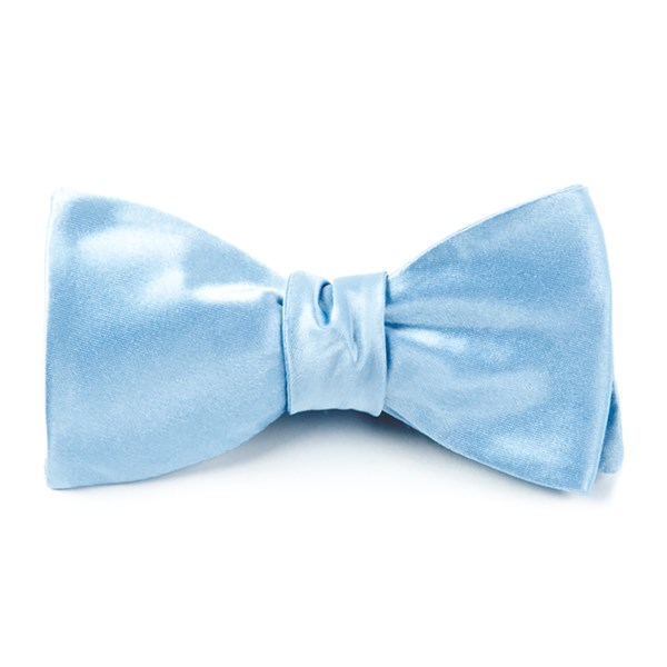 Baby Blue Solid Satin Bow Tie