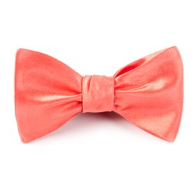 Coral Solid Satin bow ties