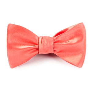 solid satin coral bow ties