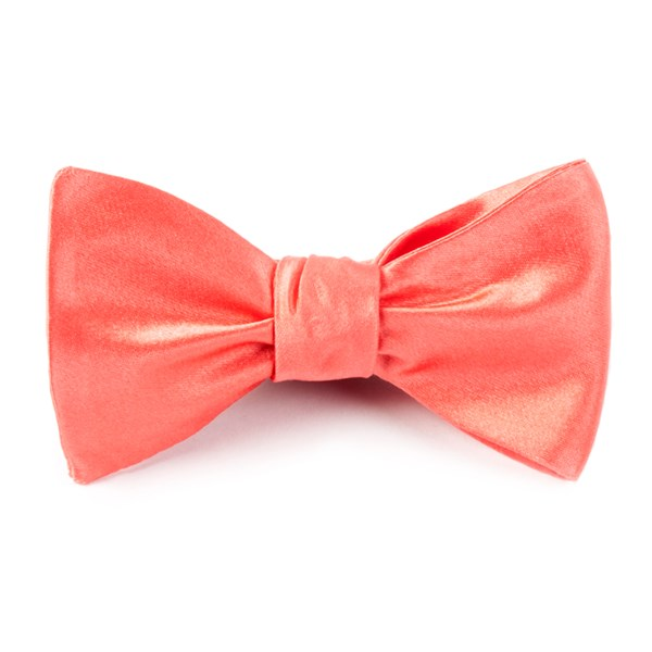 Coral Solid Satin Bow Tie