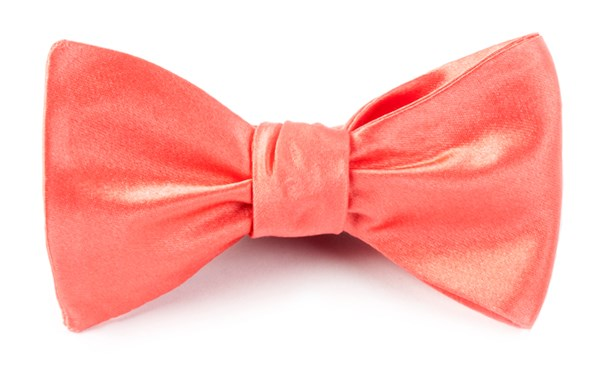 Solid Satin Coral Bow Tie
